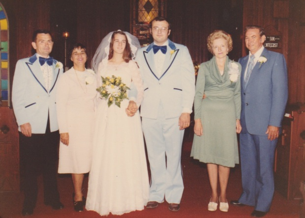 My parents' wedding, October 4th, 1977. My grandparents all look a bit peeved to be there - the wedding seemed shotgun-y at the time, though I wasn't born for another 4 years.