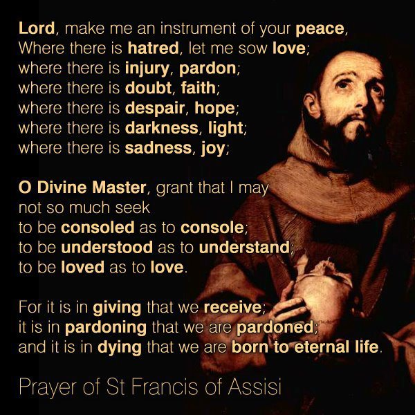 Image result for the peace prayer of saint francis