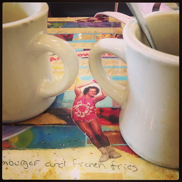 This was our table at brunch. Richard Simmons could not dissuade me from eating a big plate of tofu migas :-)