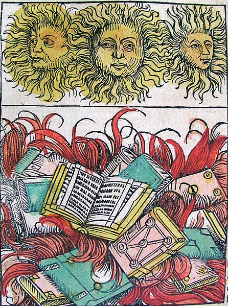 """Three Suns and Book Burning"" from the Nuremberg Chronicle."