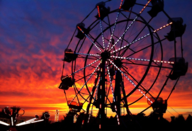 Ferris Wheel at Sunset by Walt Stoneburner