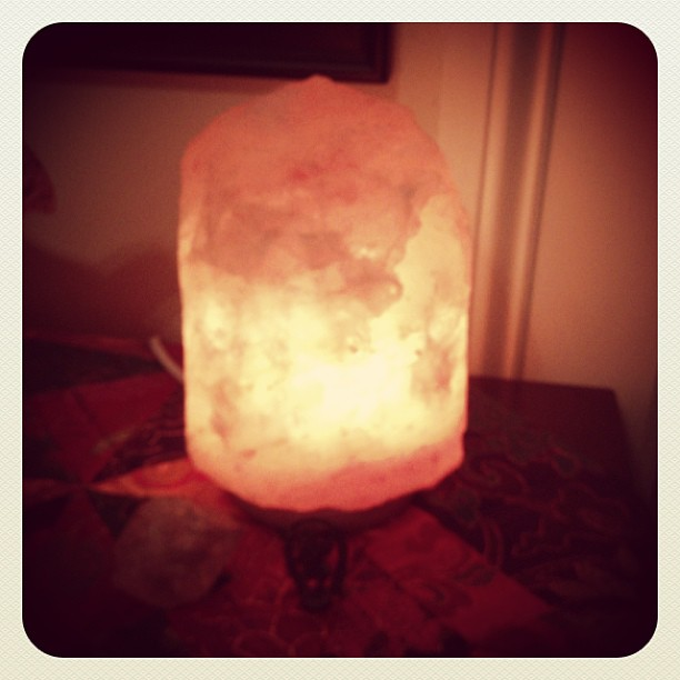 My new salt lamp, purchased at a Charleston mineral shop.