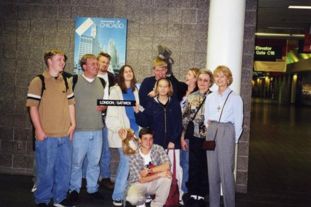 At the airport. I'm holding my bunny Frank (you might recognize him from my Hurricane Katrina evacuation story). My cousin Amy is assaulting our friend Brandon with a teddy bear. Mrs. Cutler is on the far right of the picture.