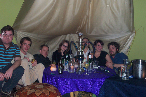 My surprise birthday party at a hookah lounge! From left to right: Al, Neal, Nate, Me, Colleen, Stacy & Zach