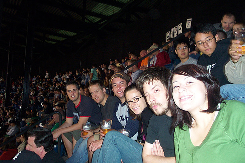 At US Cellular Field, watching one of the playoff games leading up to the White Sox winning the World Series!!! This was before I was into baseball, so I didn't know how lucky I was to be at this game. Left to right: John, Nate, AJ, me, Zach & Stacy.