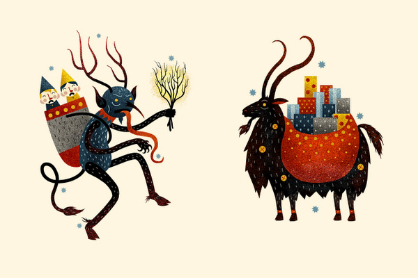 Krampus and the Yule Goat!  Now this is the kind of card I can get behind...