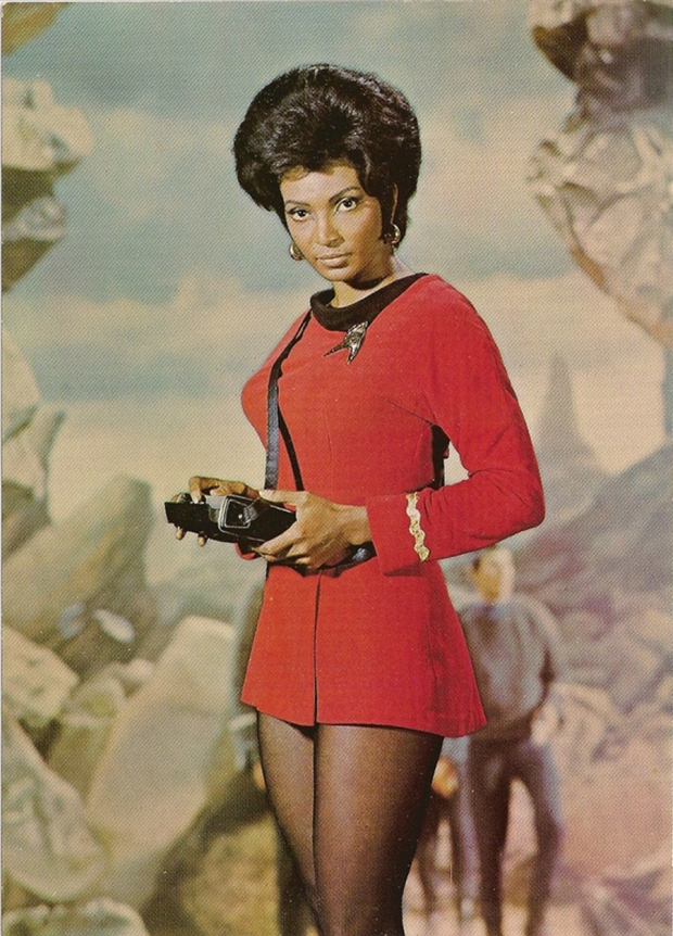 That's one nearly non-existent skirt you've got there, Uhura.