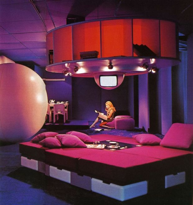 "Vintage 60s Interior. Prototype of ""Visiona 1 Futuristic Habitat"", Central Living Block. Designed by Joe Colombo."