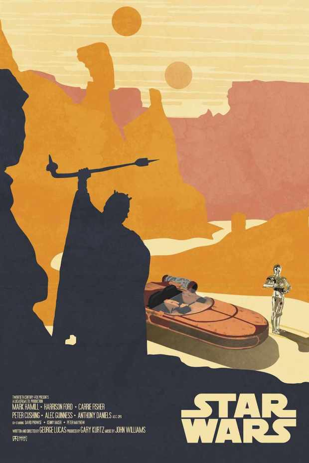 Minimalist Star Wars poster by Drew Roberts. Click through to purchase on Etsy.