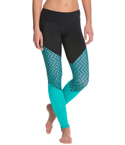 Onzie Track Leggings in Teal Chevron at YogaOutlet.com. (Click image to visit site.)